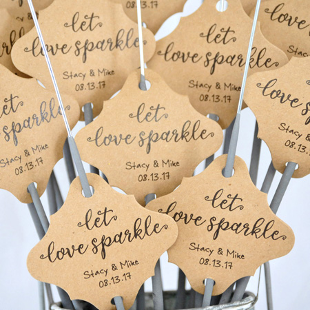 Darling Souvenir Personalized Fancy Frame Paper Tags Wedding Sparklers Let Love Sparkle Custom Hang Tags-White-100 Tags