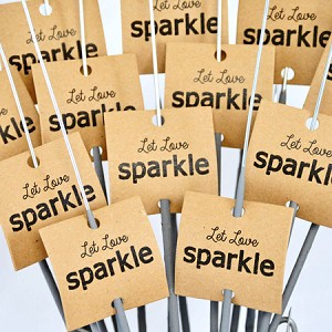 """Let Love Sparkle"" Tags  On Kraft Paper (Square)"