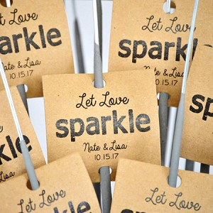 """Let Love Sparkle"" Square Custom Tags On Kraft Paper"