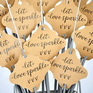 """Let Love Sparkle"" Tags  On Kraft Paper"